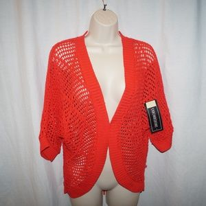 SweaterWorks Shrug Top New With Tags Red Orange